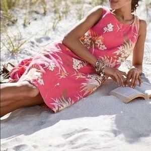 J Jill XS 100% Linen Dress Pink Floral Tropical Hawaiian